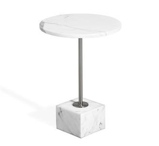 Interlude Marble Top Pedestal End Table Table Base Color: Nickel, Table Top Color: Arabescato
