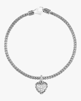 John Hardy Classic Diamond Pave Heart Charm Bracelet