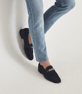 Thumbnail for your product : Reiss Lex - Suede Loafer With Chain Detail in Navy