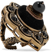 Gucci Gold-plated, Velvet And Resin Ring - Black