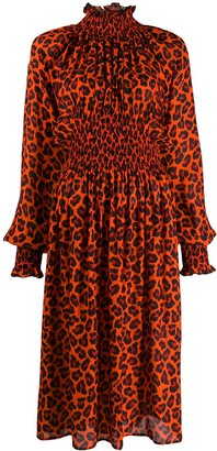 MSGM Animal Print Puffy Sleeves Dress