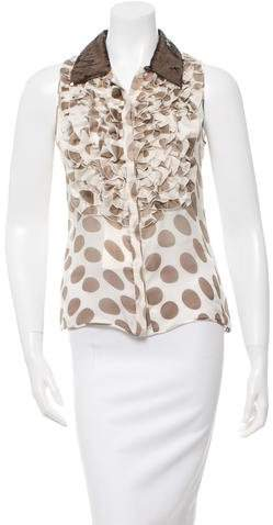 Valentino Sequin-Embellished Silk Top w/ Tags