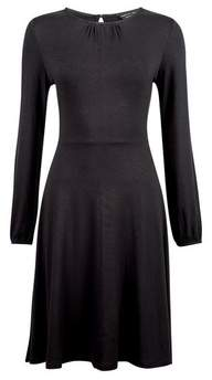 Dorothy Perkins Womens Black Pleat Neck Fit And Flare Dress, Black