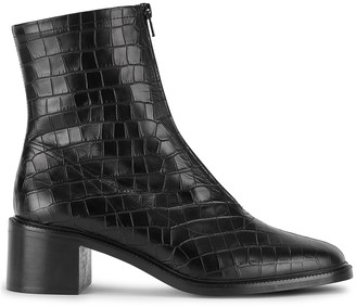 BY FAR Bruna 60 crocodile-effect leather ankle boots