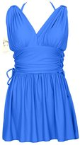 Hengjia Women's Sexy V Neck One Piece Swimsuit Plus-Size Empire Waist Swim Dresses(FBA)
