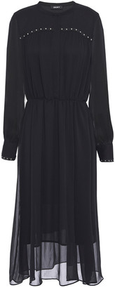 DKNY Gathered Studded Voile Midi Dress