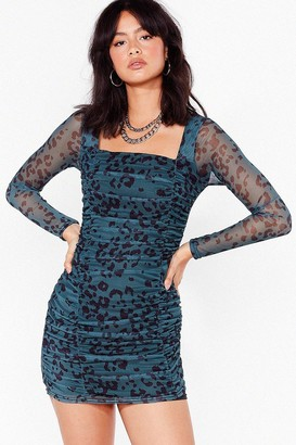 Nasty Gal Womens On Our Mesh Behaviour Leopard Mini Dress - Green - 4