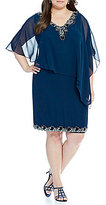 J Kara Plus Beaded Popover Capelet Dress