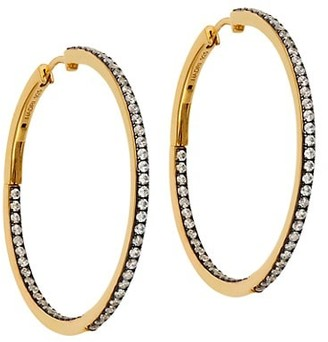 Adriana Orsini Edgy Black Ruthenium-Plated & 18K Goldplated Sterling Silver Pave Inside/Outside Hoop Earrings