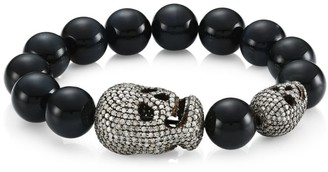 Nina Gilin Blue Tiger Eye & Diamond Pave Skull Beaded Bracelet