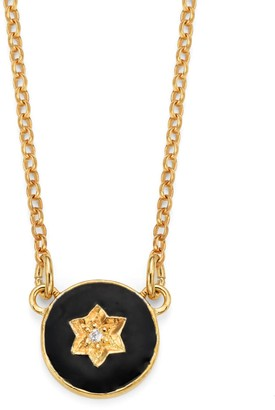 Harry Rocks North Star Enamel Necklace Black Gold