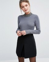 Oasis Beaded High Neck Knitted Sweater