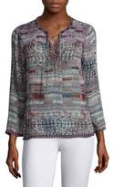 Joie Ailana Lace-Up Tile-Print Silk Blouse