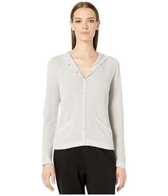 Eileen Fisher Fine Organic Cotton Silk Hooded Cardigan