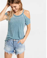 Express Burnout Cold Shoulder Tee