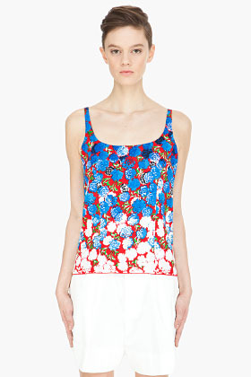 Marc Jacobs red multicolor carnation Tank-Top