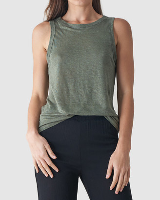 Amelius - Women's Green Sleeveless Tops - Aceline Linen Tank Top - Size One Size, S at The Iconic