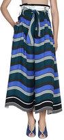 Fendi Striped Tie-Waist Wide-Leg Pants, Blue/Multi