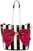 Betsey Johnson Faux Leather Bow-lesque Drawstring Shoulder Bag