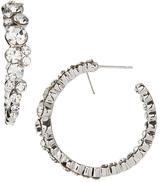Love Rocks Crystal & Silvertone Cluster Hoop Earrings