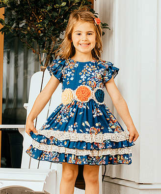 Lulu Ruffles By Tutu And Ruffles by Tutu and Girls' Casual Dresses - Cobalt & Orange Floral Lace-Trim Ruffle Dress - Toddler & Girls