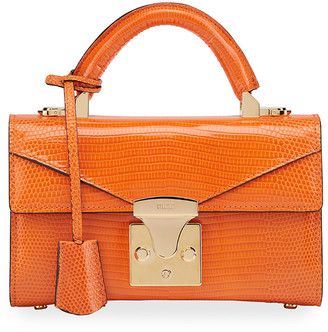 Stalvey Lizard 24K Gold 2.0 Small Top-Handle Bag, Orange