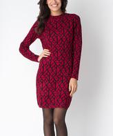 Yuka Paris Carmine & Black Geometric Kim Dress