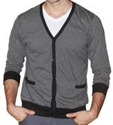 191 Unlimited Men's Grey Stripe Cardigan Sweater