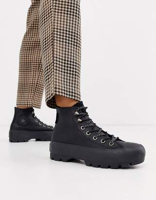 Converse Black Goretex Leather Chuck Taylor Hi Chunky Sole Hiker Boots