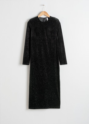 And other stories Long Sleeve Velvet Midi Dress