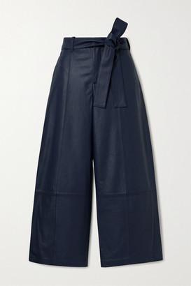 Jason Wu Cropped Leather Wide-leg Pants - Midnight blue