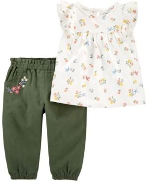 Carter's Baby Girl 2-Piece Floral Jersey Top & Linen Pant Set