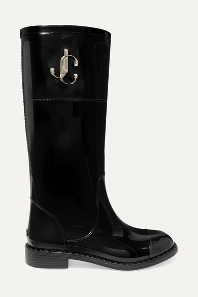 Jimmy Choo Edith Logo-embellished Faux Patent-leather Rain Boots - Black
