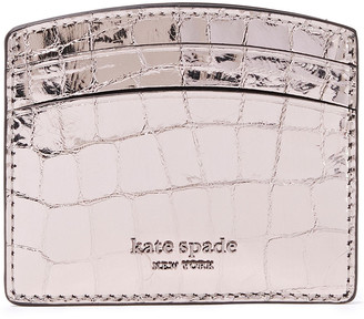 Kate Spade Sylvia Metallic Croc-effect Leather Cardholder