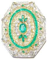 BKGjewelry Natural Gemstone Diamond Emerald Brooch/Pin 18K Yellow Gold [I_030]