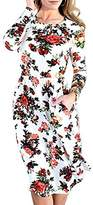 EMVANV Women's Casual Swing Pleated Long Sleeve Floral Tshirt Dress with Pocket, XL