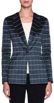 Giorgio Armani Single-Breasted Windowpane-Jacquard Jacket, Navy/White