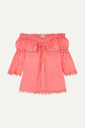 Charo Ruiz Kids - Maya Crocheted Lace-paneled Cotton-blend Top - Coral