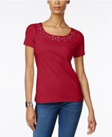 Karen Scott Embellished T-Shirt, Only at Macy's