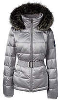 Lands' End Women's Petite Hooded Down Jacket-Light Silver Metallic