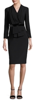 David Meister Pleated Front Sheath Dress
