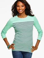 Talbots Long-Sleeve Crewneck Tee - Biddeford Stripes