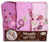 Frenchie Mini Couture Girl's I Love Mommy/Daddy 3-Pack Terry Hooded Towels