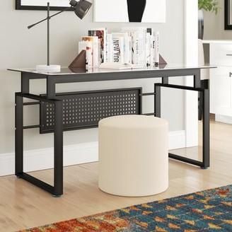 Latitude Run Hattie Black Office Glass Desk