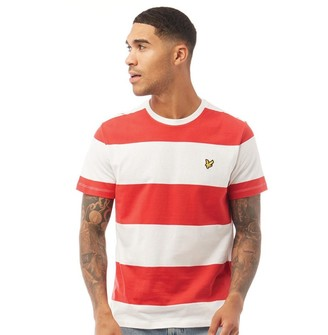 Lyle And Scott Vintage Mens Wide Stripe T-Shirt Z799 Gala Red