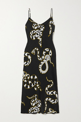 Olivia von Halle Bibi Printed Silk Crepe De Chine Midi Dress