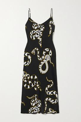 Olivia von Halle Bibi Printed Silk Crepe De Chine Midi Dress - Black