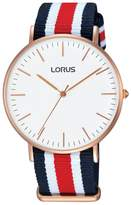 Lorus Men's RH884B Fashion Gold-Plated White Dial Nylon Wrist Watch