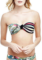 Guess Reversible Tropical Printed and Striped Bandeau Bikini Top