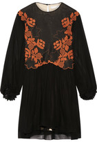 Chloé Embroidered Linen And Silk-chiffon Mini Dress - Black